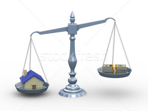 3D ház pénz mérleg 3d illusztráció igazi Stock fotó © ribah