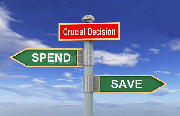 Senalización de la carretera guardar 3d las senales de tráfico palabras decisión Foto stock © ribah