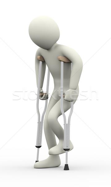 3d man broken leg with crutches Stock photo © ribah