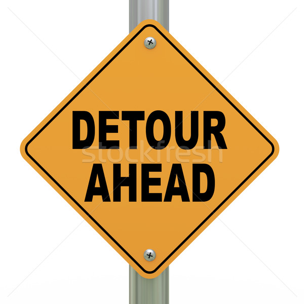 3d road sign detour ahead Stock photo © ribah