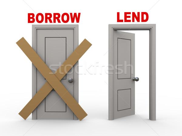3d borrow and lend doors Stock photo © ribah