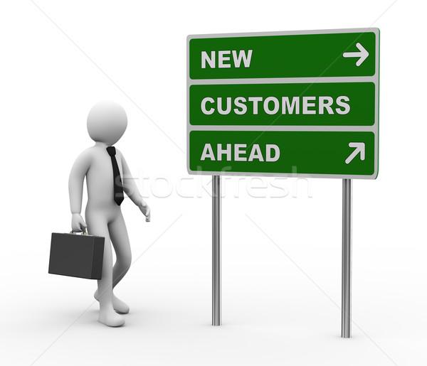 3d businessman new customers ahead roadsign Stock photo © ribah