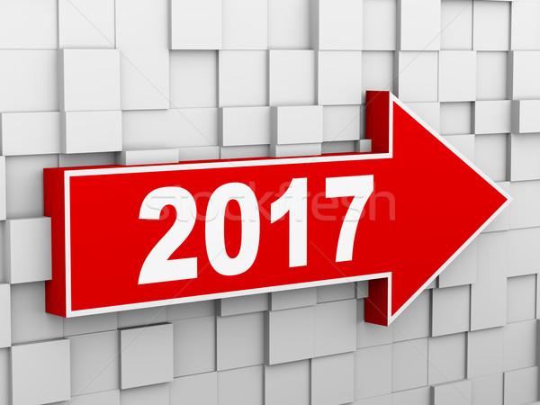 3d abstract cube wall arrow - year 2017 Stock photo © ribah