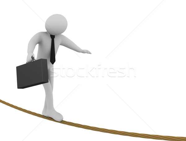 3d businessman walking on rope Stock photo © ribah