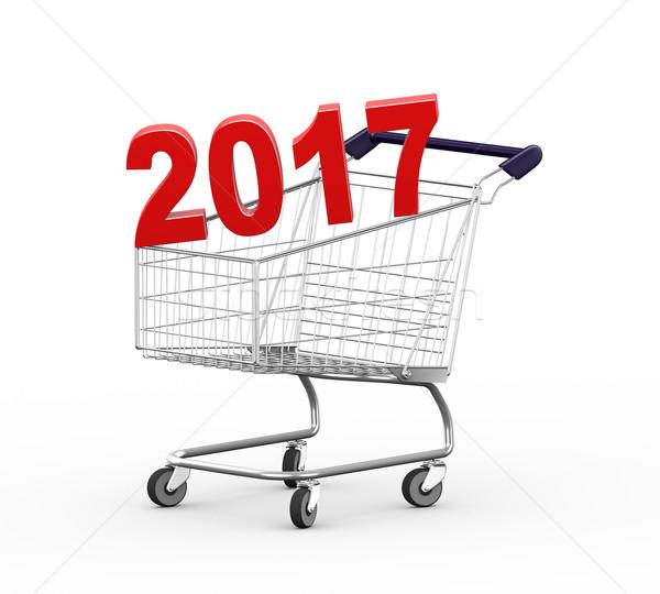 3d shopping 2017 cart trolley Stock photo © ribah