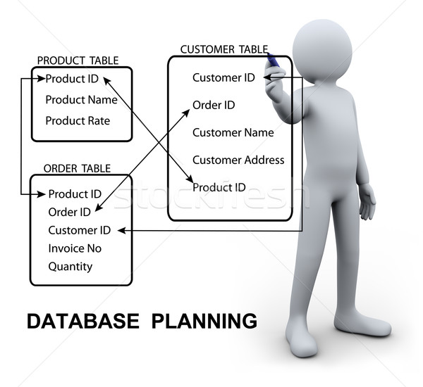 3d man writing database plan Stock photo © ribah
