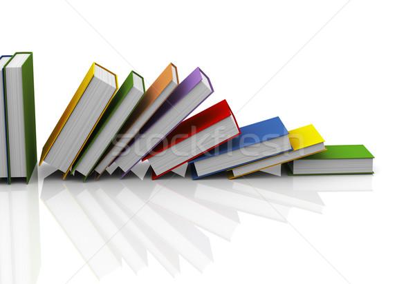Stok fotoğraf: 3D · kitaplar · 3d · illustration · beyaz