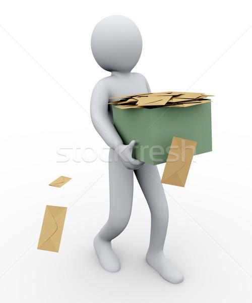 3d man and envelopes box Stock photo © ribah