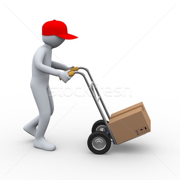 3d man hand truck parcel delivery Stock photo © ribah