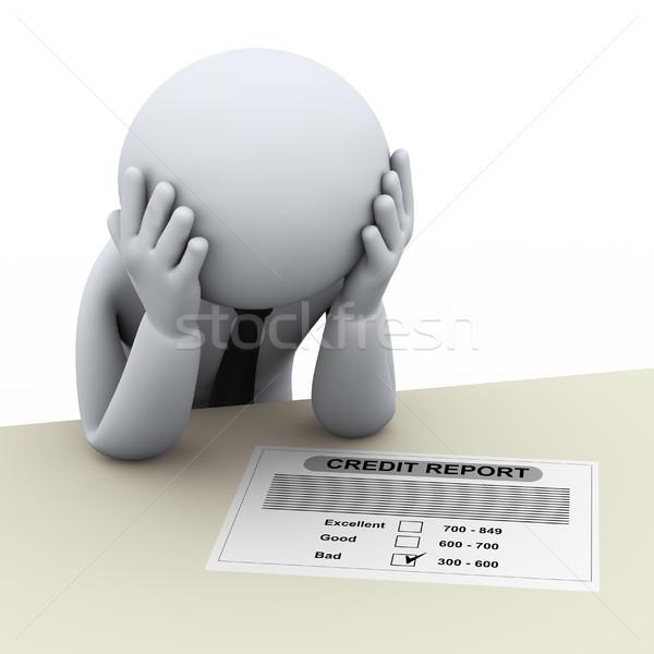 3d business man and bad credit report Stock photo © ribah