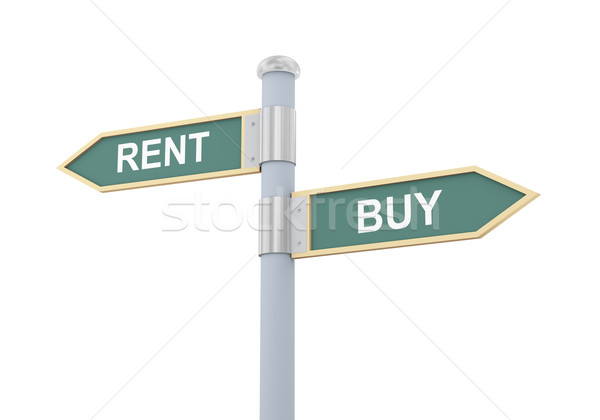 3d rent buy road sign Stock photo © ribah