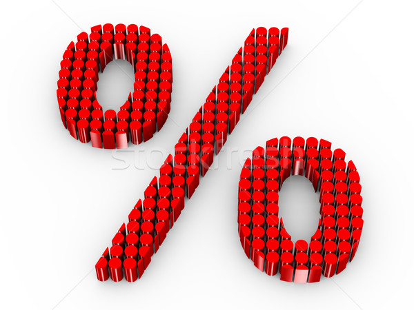 Stock photo: 3d cylinders percentage sign
