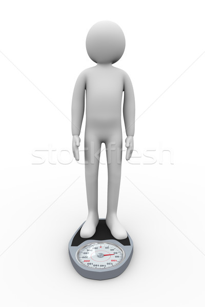 3d person on weighing machine Stock photo © ribah