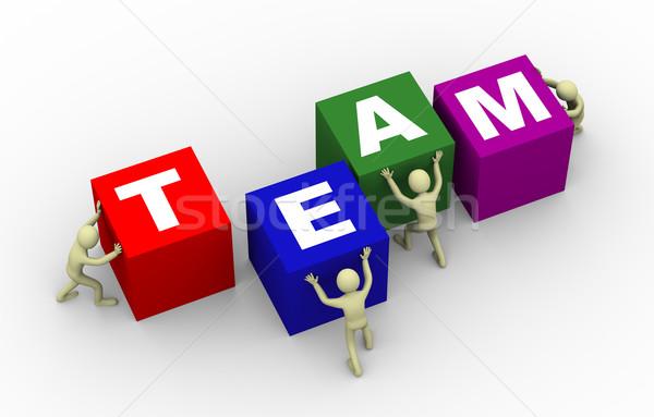 3d people pushing team cubes Stock photo © ribah
