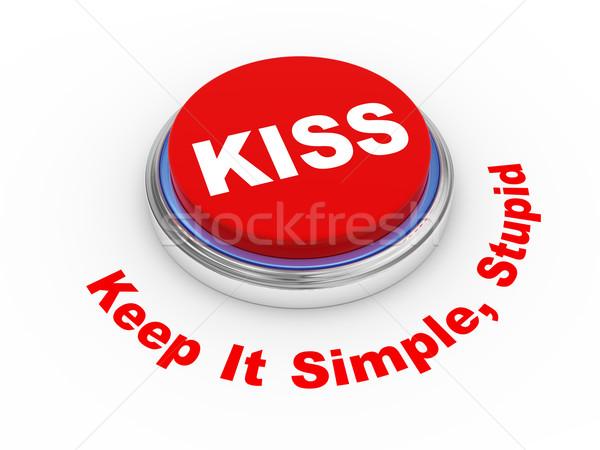 3D öpücük düğme 3d illustration ilke basit Stok fotoğraf © ribah