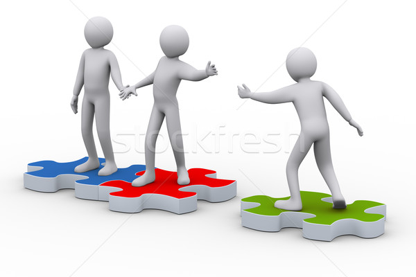 3d man on puzzle joining people Stock photo © ribah