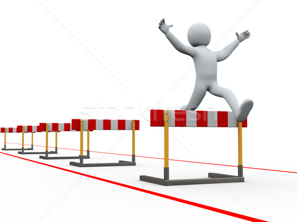 3d man hurdles track jumping Stock photo © ribah