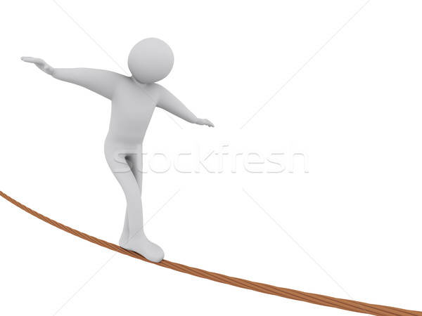 3d man walking on rope Stock photo © ribah