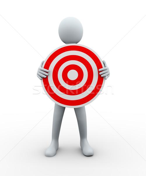 3d man holding target Stock photo © ribah