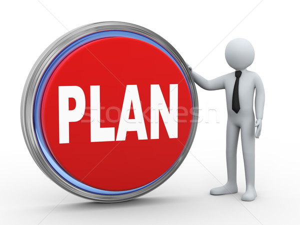 3d businessman with plan button Stock photo © ribah