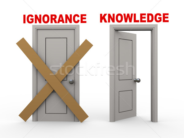 3d ignoranceand knowledge doors Stock photo © ribah