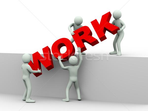 3d pessoas trabalhar ilustração 3d homens palavra Foto stock © ribah