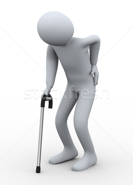 3d old man walking with stick Stock photo © ribah