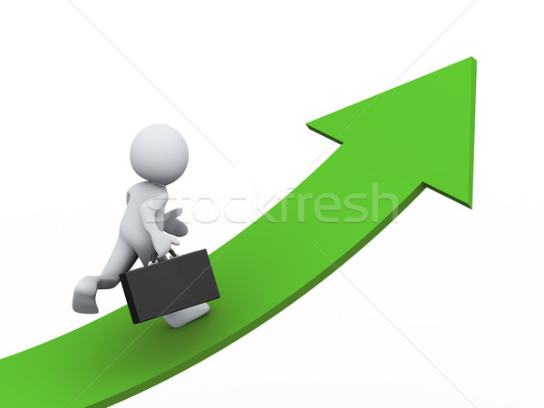 3d businessman on growing arrow  Stock photo © ribah