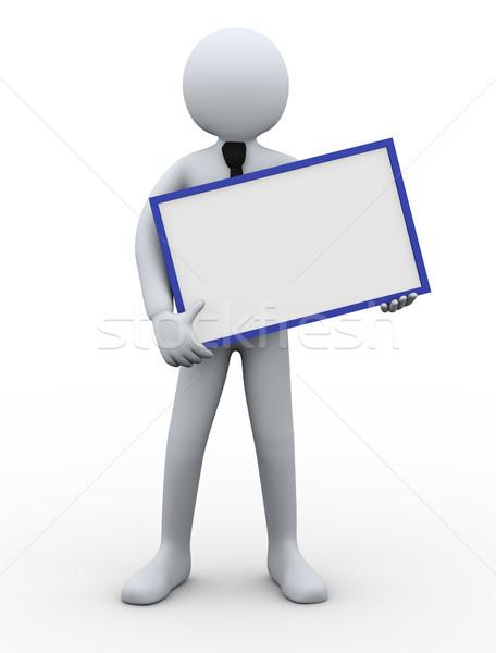 3d businessman holding blank board Stock photo © ribah
