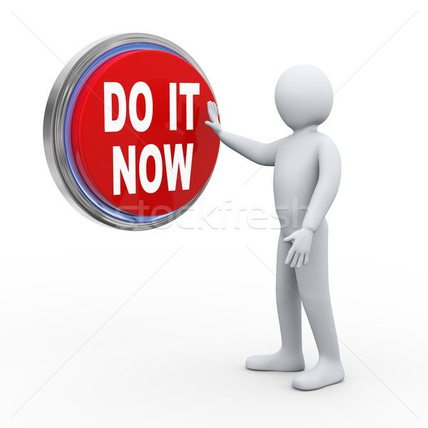 3d man with do it button Stock photo © ribah