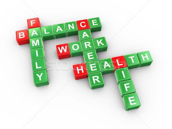 Trabajo vida equilibrio crucigrama 3d equilibrio Foto stock © ribah