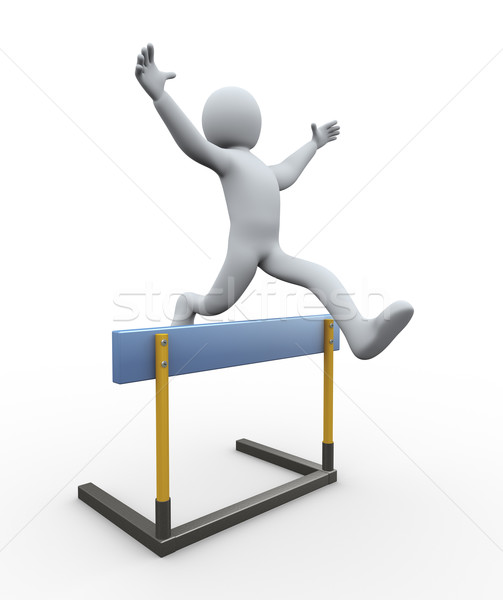 3d man hurdle jump Stock photo © ribah