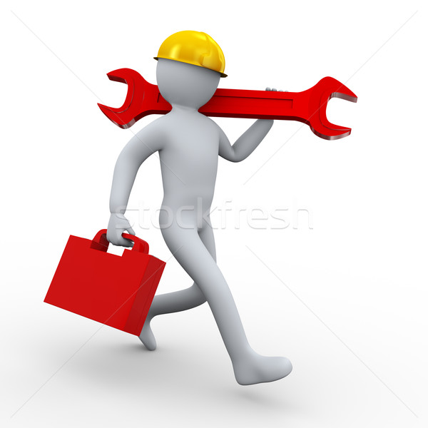 3d man carrying wrench and toolbox Stock photo © ribah