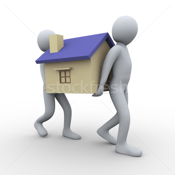 3d people carrying house Stock photo © ribah