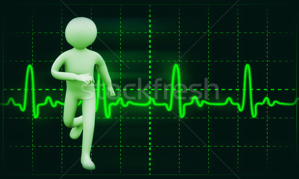 3d healthy person ecg background Stock photo © ribah