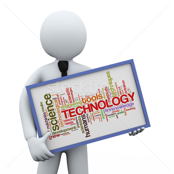 3d businessman holding technology wordcloud Stock photo © ribah