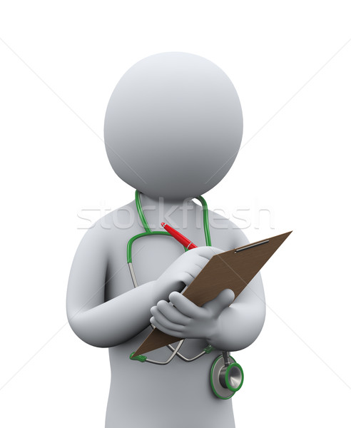 3d doctor writing patient medical history Stock photo © ribah