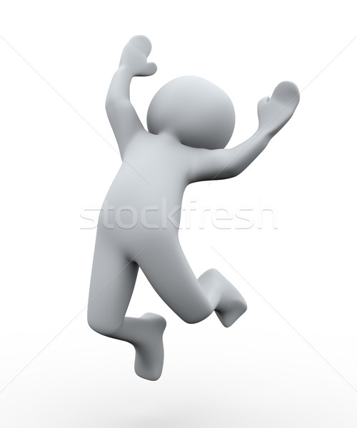 3d person happy jump Stock photo © ribah