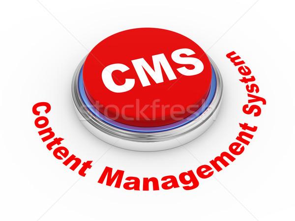 3D cms przycisk 3d ilustracji zawartość zarządzania Zdjęcia stock © ribah