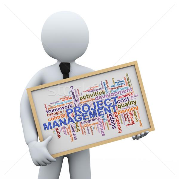 Foto stock: 3D · empresário · projeto · gestão · palavra