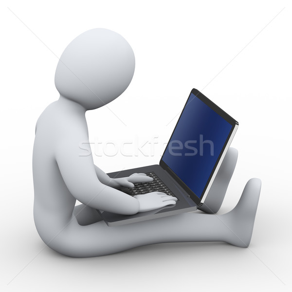 3d man working on laptop Stock photo © ribah