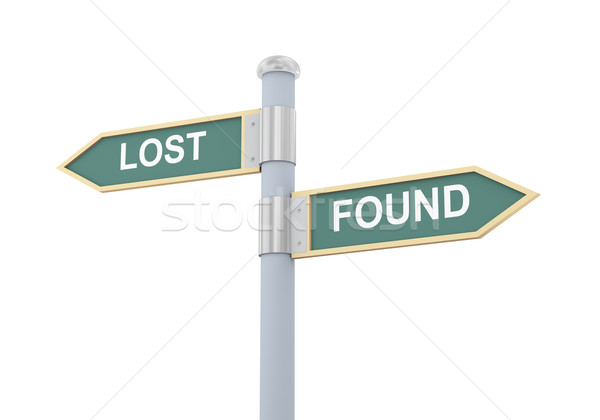 3d lost found road sign Stock photo © ribah