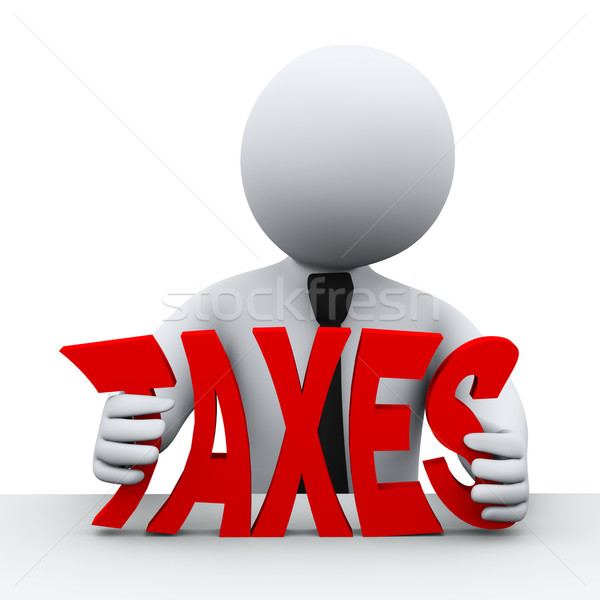 Stock photo: 3d person tax reduction