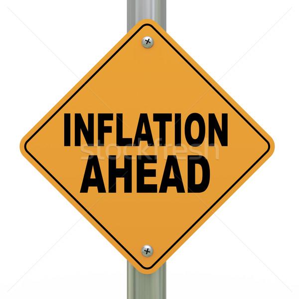 Stock fotó: 3D · jelzőtábla · infláció · előre · 3d · illusztráció · citromsárga