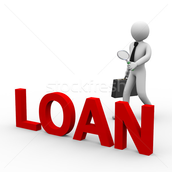Stock photo: 3d businessman looking for loan