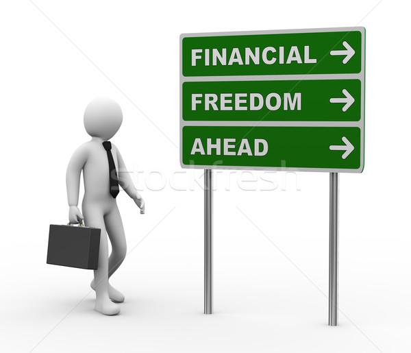 3D бизнесмен финансовых свободу впереди дорожный знак Сток-фото © ribah
