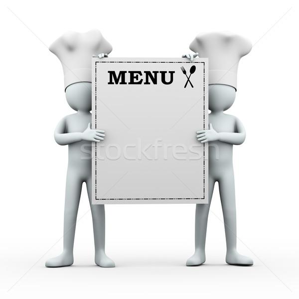3d cook men holding menu Stock photo © ribah