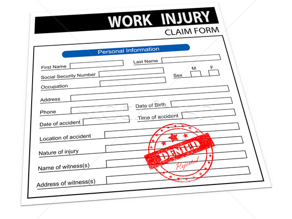 3d rejected work injury claim form Stock photo © ribah