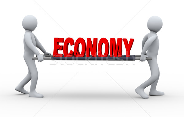 Stock photo: 3d people carrying cracked economy