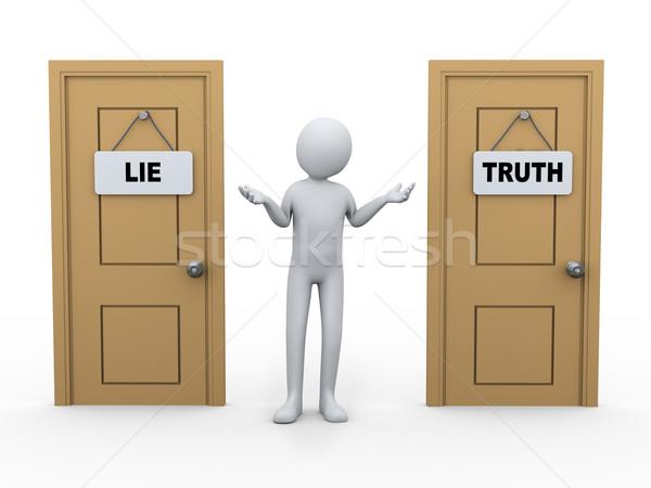3dの人 真実 うそをつく ドア 3次元の図 男 ストックフォト © ribah